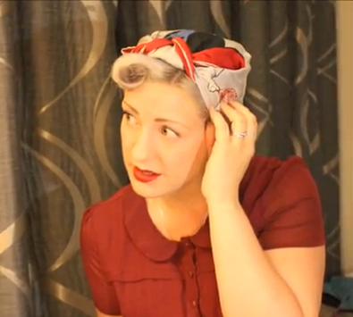 Outstanding How To Tie A 1940S Rosie The Riveter Head Scarf 194039S Short Hairstyles For Black Women Fulllsitofus